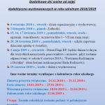 Dodatkowe dni wolne odzajęć dydaktyczno-wychowawczych wroku szkolnym 2018/2019